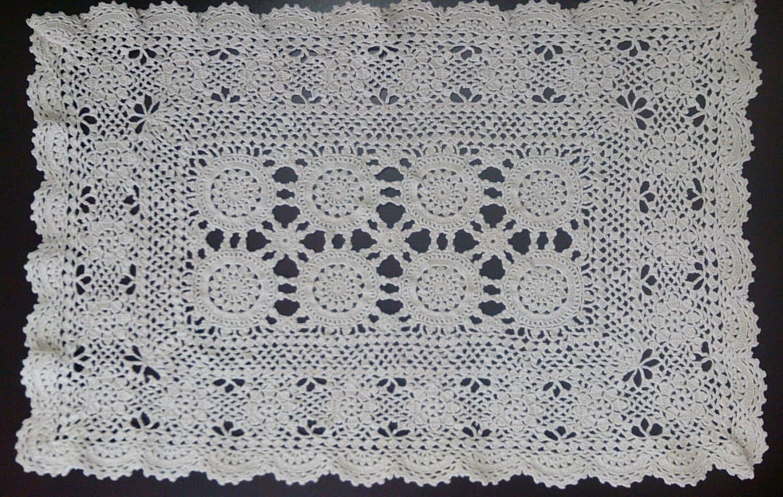 Free Crochet Patterns For Rectangular Doilies : Vintage Doily Crocheted Rectangular Doily by ...