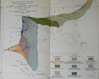 1905 Alaska Cape Lisburne Region Topographic and Geologic Map by Arthur J. Collier.  Antique Original Lithograph