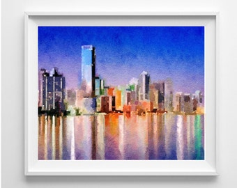 Miami Painting, Art Print,Illustration,Watercolor, Wall Art,Wall Hanging,Pic no 74