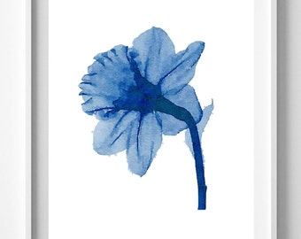 Blue flower,flower painting,Flower Print,Home Decor, Wall Art.Pic no 57