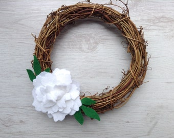 Peony Rattan Wreath - Available in the colour of your choice