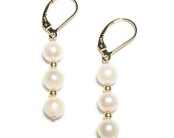 Triple Genuine Japanese Akoya White Pearl 14K Yellow Gold Lever Back Earrings