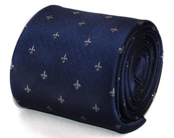 navy blue tie with fleur de lis (lys) design with signature floral design to rear by Frederick Thomas FT644