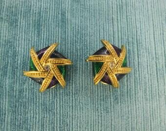 Swirl Modernist Multicolour Enamel  Clip on Earrings