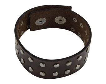 Brown Leather Studded Bracelet - Studded Brown Leather Wristband - Adjustable Snaps, Men's Women's Studded Leather Bracelet clasp closure