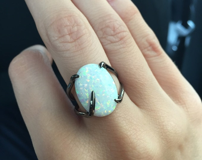 White Opal ring - Black gold ring - White stone ring - White - Silver ring - Manmade opal - Opal jewelry - Cosmic -...