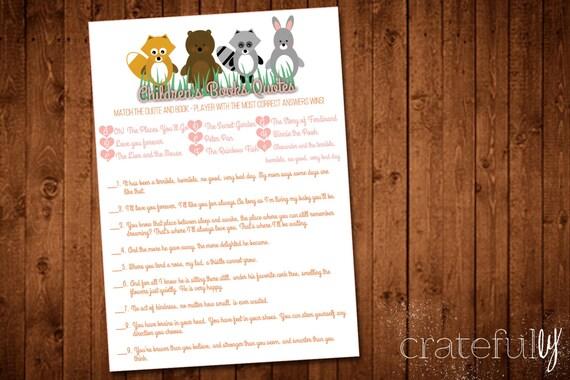baby shower game children 39 s books quotes baby animals digital