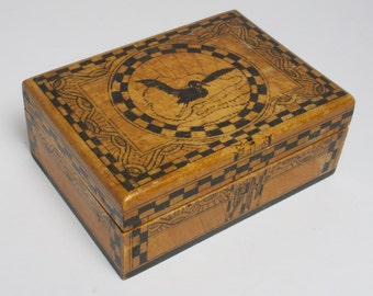 Antique Art Deco Scottish penwork stork wooden box signed and dated 1922