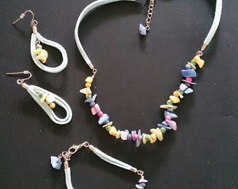 Candy Colour Chip Shell Suede Necklace, Earrings & Bracelet Set