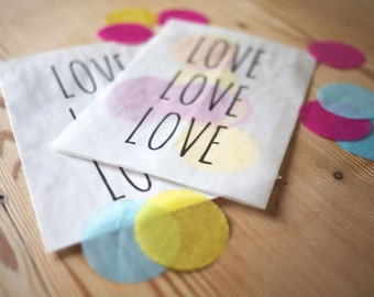 10 x 'Love, love, love' confetti bags for wedding, party, favours