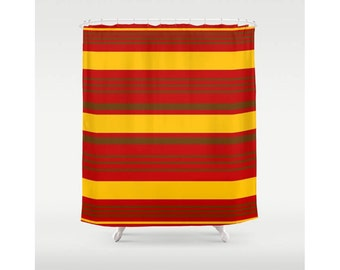 Red stripe curtain etsy - Red and yellow bathroom ideas ...