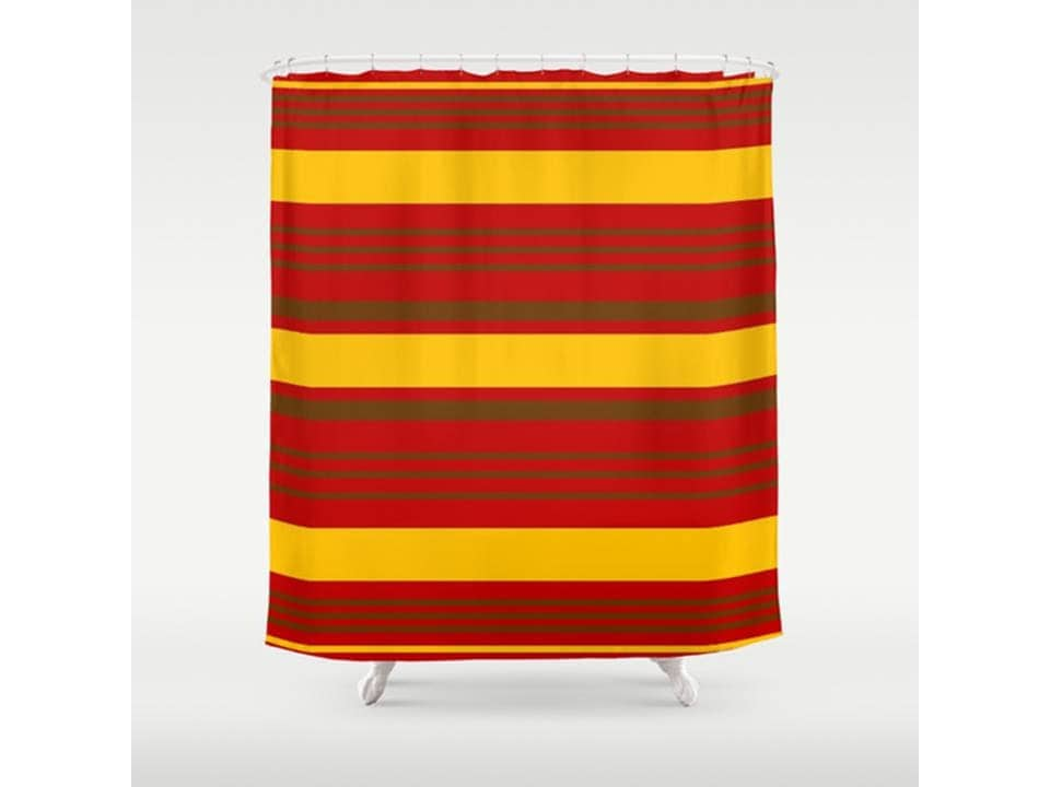 Red Yellow Stripe Shower Curtain 71 X 74 Bathroom