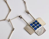 RESERVED David Andersen Norway Sterling Silver and Enamel Modernist Pendant Necklace 1960s Scandinavian Jewelry