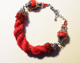Red Bead Bracelet with beads-Red cord bracelet with beads