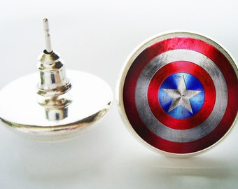 Superhero Superheroes earrings, Superhero jewelry, men's earrings, Custom Personalized earrings jewelry, photo earrings, America Earrings