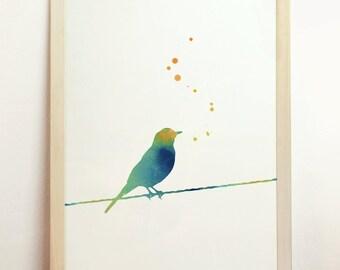 Digital Printable Bird Instant Download Watercolor Art Wall Housewares Painting Nursery Green Blue Yellow 8x10 A4 8.3 x 11.7 in - N14