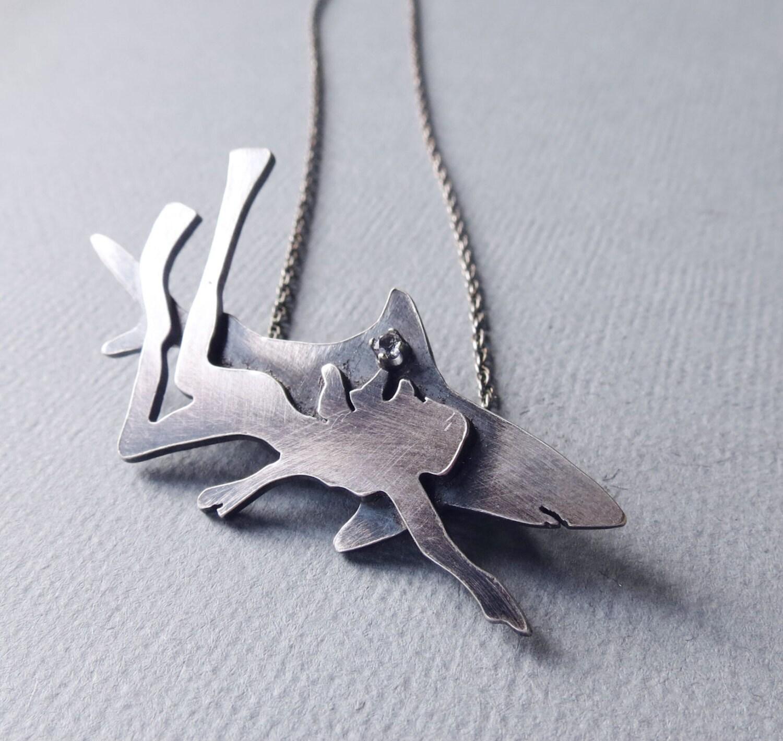 shark pendant silver shark necklace and shark