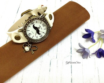 """Moustache Watch, Retro Leather Watch, Leather Watch, Leather Bracelet Watch, Wrist Leather Watch, Vintage Leather Watch """"Bowknot"""" charm"""