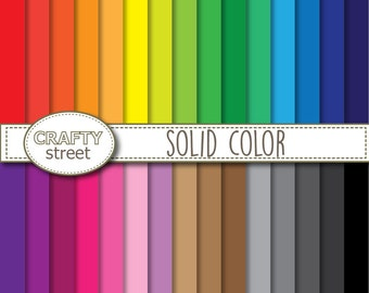 Solid Color digital paper, Digital paper, INSTANT DOWNLOAD, Scrapbook paper, Digital paper pack, Printable paper, Scrapbooking, Rainbow