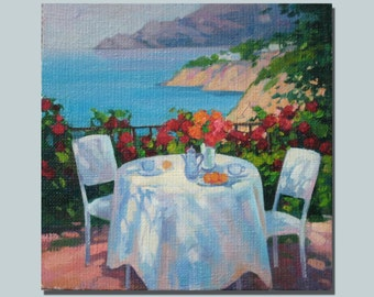 "Morning Coffee Original Oil Painting 8""x8"""