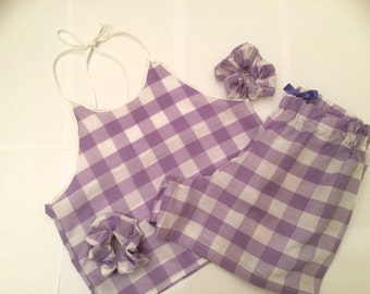 Purple checked Pajama Set