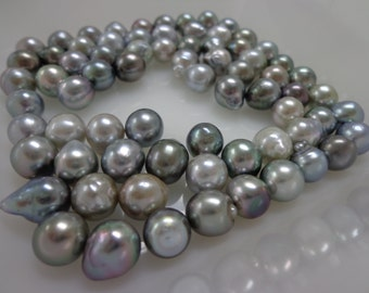 8mm Silver Circle Semi-Drop/Baroque Loose Tahitian Pearls