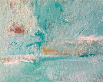 Abstract Sea Blue Acrylic Painting, Turquoise Painting, Blue Painting, Small Acrylic Painting, Small Abstract Painting, Abstract Art