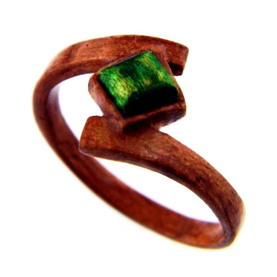 Emerald Wood Ring Carved