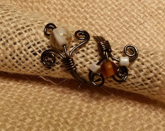 Gun metal and lampwork wire crafted adjustable ring