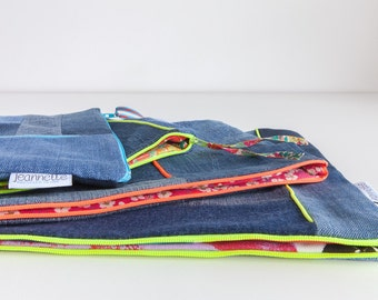 Pouch made of recycled denim