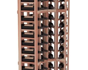 handmade wooden 4 column 72 bottle standard corner wine cellar kit in premium redwood 13
