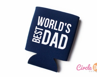 World's Best Dad Can Cozy - Personalized Beer/Soda Can Hugger, perfect for Father's Day, grandpa, papa, grandfather, manly gift