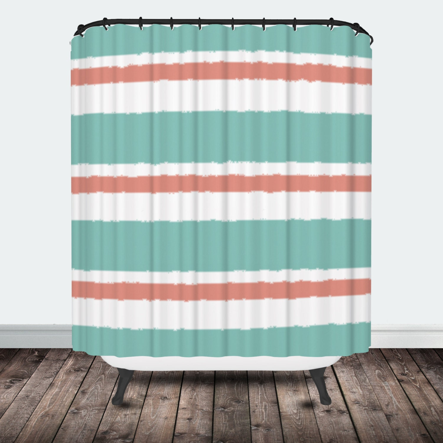 turquoise and coral stripe shower curtain by pctextileco