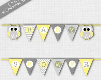 Owl Baby Shower Gray and Yellow Baby Shower Banner DIY Banner Printable INSTANT DOWNLOAD