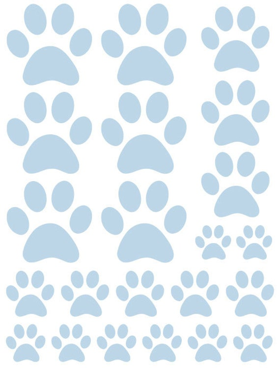 44 Powder Blue Paw Prints Vinyl Wall Decals Stickers Bedroom Teen Kids Baby Dorm Room Cat Dog Pet Removable Custom Easy to Install Wall Art