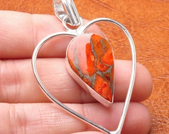 Orange/ Red Cooper Turquoise silver plated pendant (#J1278)