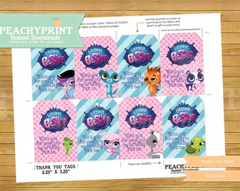 Littlest Pet Shop Birthday Thank You Tags Instant Download