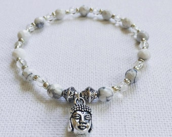 Calmness | Mindfulnessbracelet | Yoga | Buddha | Silver Charm | Clear Quartz | Howlite | Gemstone | Healing | Bracelet
