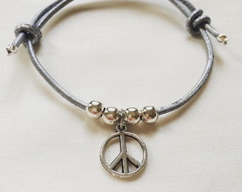 Yoga Leather Bracelet | Peace | Silver | Bracelet | Mindfulnessbracelet | Leather Cord | Adjustable