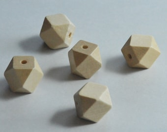 Chunky Wood Bead, Faceted Bead, 20mm, DIY jewelry, Fast Shipping from USA