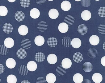 Color Theory White and Blue Dots on Navy Blue Background by Vanessa Christenson for MODA - 10833-15