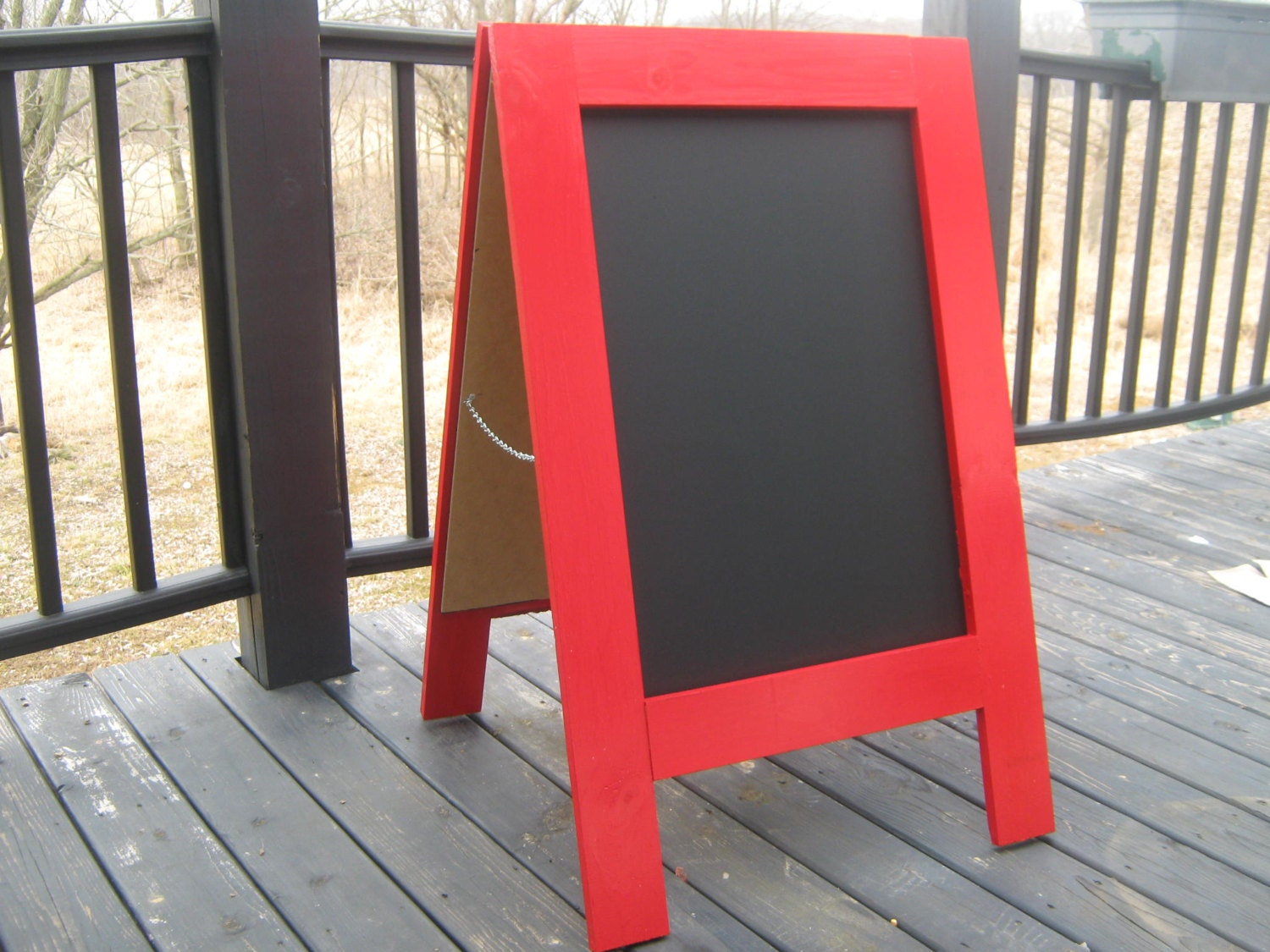 Two sided chalkboard sandwich board business sign handmade