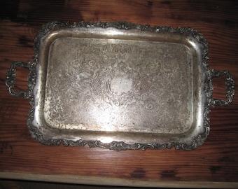 Vintage silverplate serving tray ornate