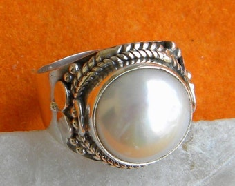 Pearl ring, 925 sterling silver Pearl ring Statement Ring, Ring Size 5 6 7 8 9 10  -0115100200