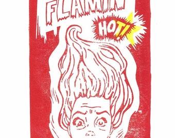 Flamin' Hot Linocut Print