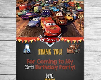 Disney Cars Thank You Card Chalkboard - Lightning McQueen Birthday Thank You - Disney Cars Printables - Cars Party Favors