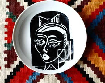 black and white plate