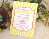 Little Sunshine First Birthday Party Invitation 5x7 Invitation: Get Started Deposit or DIY Payment