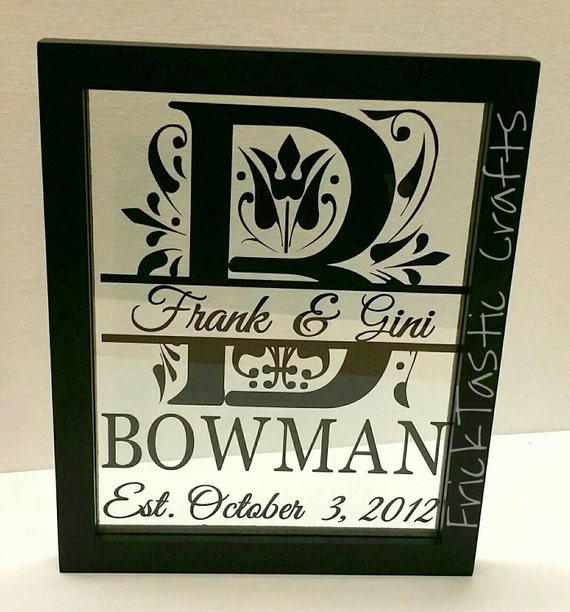 Personalized Wedding Picture Frames 8x10 : 8x10 Personalized Wedding Day Wall Art in Floating Frame. Vinyl split ...