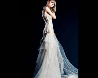 wedding dress-custom wedding dress-wedding dress with lace neckline-train wedding dress-romantic wedding dress- handmade in europe-